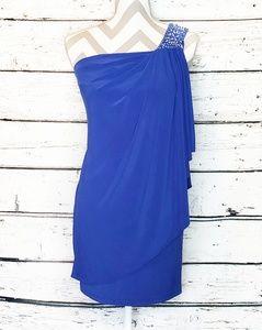 Cache Draped One Shoulder Rhinestone Dress Blue